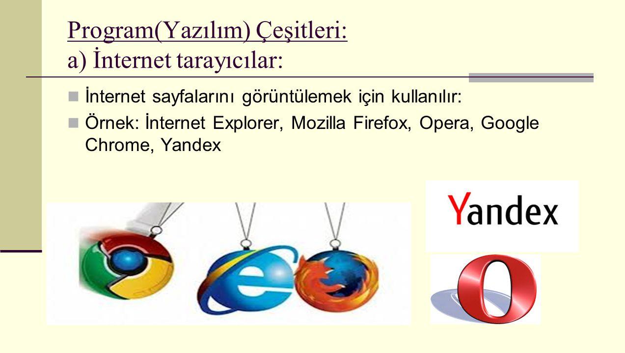 Program(Yazılım) Çeşitleri: a) İnternet tarayıcılar: İnternet sayfalarını görüntülemek için kullanılır: Örnek: İnternet Explorer, Mozilla Firefox, Ope