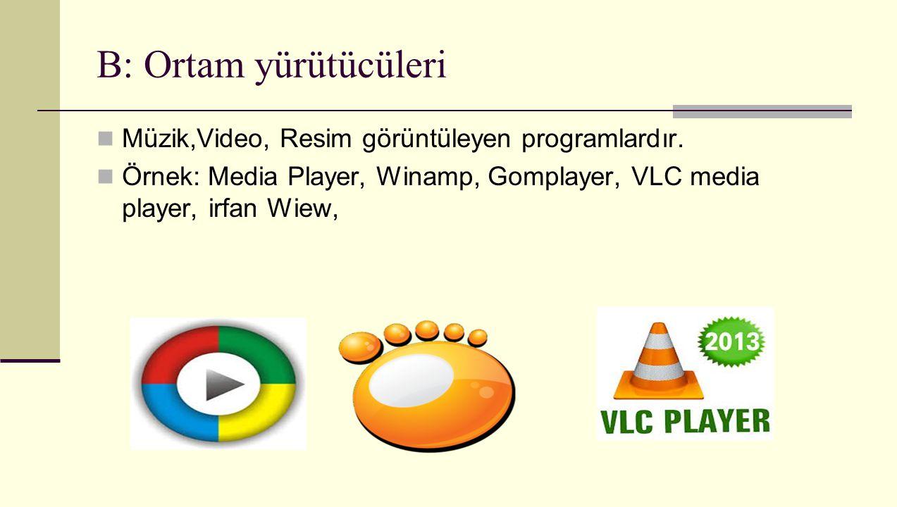 B: Ortam yürütücüleri Müzik,Video, Resim görüntüleyen programlardır. Örnek: Media Player, Winamp, Gomplayer, VLC media player, irfan Wiew,