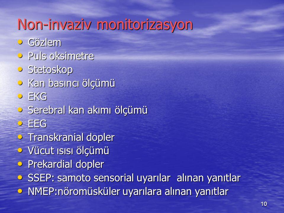 10 Non-invaziv monitorizasyon Gözlem Gözlem Puls oksimetre Puls oksimetre Stetoskop Stetoskop Kan basıncı ölçümü Kan basıncı ölçümü EKG EKG Serebral k