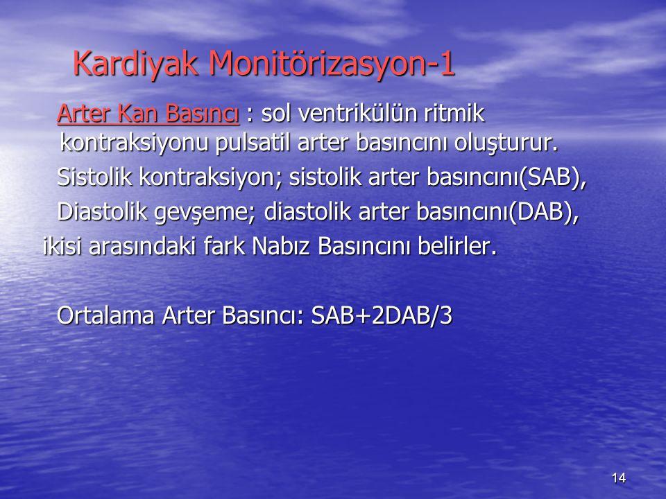 14 Kardiyak Monitörizasyon-1 Kardiyak Monitörizasyon-1 Arter Kan Basıncı : sol ventrikülün ritmik kontraksiyonu pulsatil arter basıncını oluşturur.