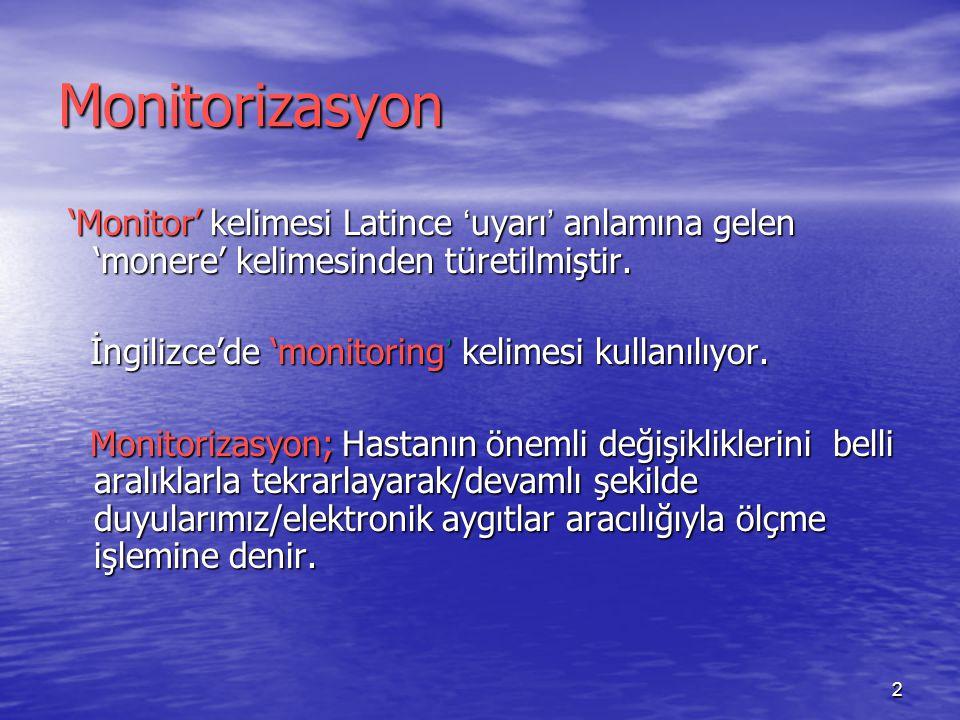 2 Monitorizasyon 'Monitor' kelimesi Latince ' uyarı ' anlamına gelen 'monere' kelimesinden türetilmiştir. 'Monitor' kelimesi Latince ' uyarı ' anlamın