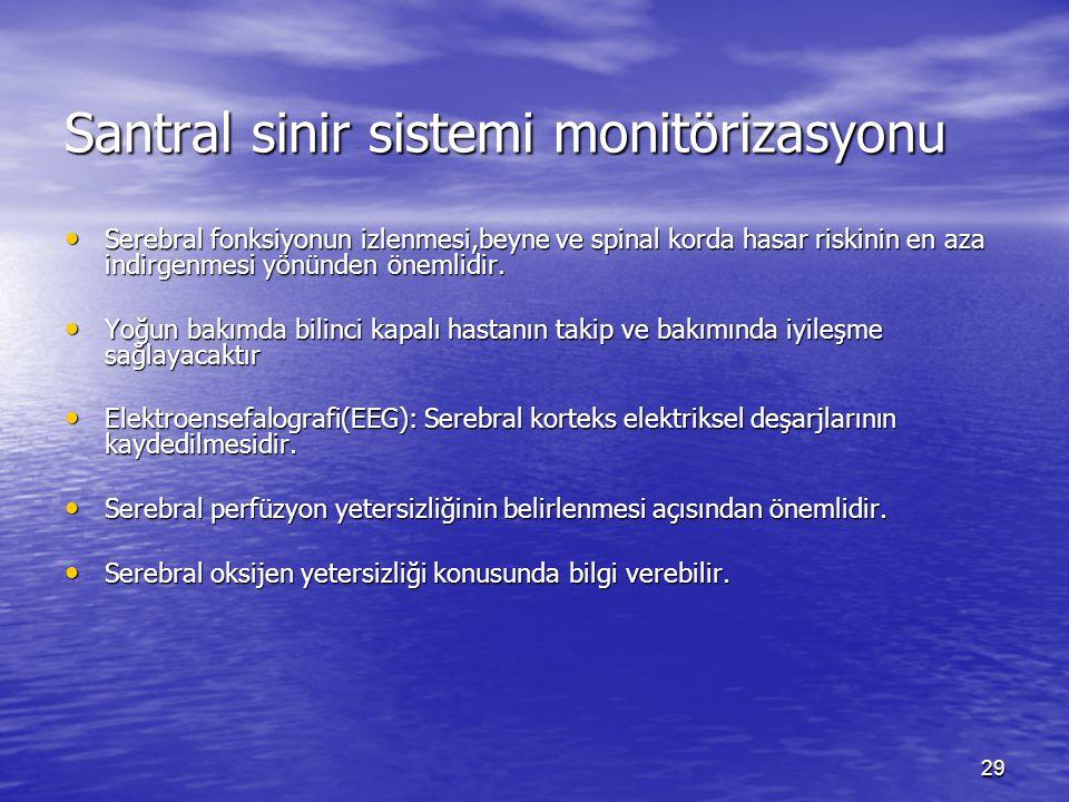 29 Santral sinir sistemi monitörizasyonu Serebral fonksiyonun izlenmesi,beyne ve spinal korda hasar riskinin en aza indirgenmesi yönünden önemlidir.