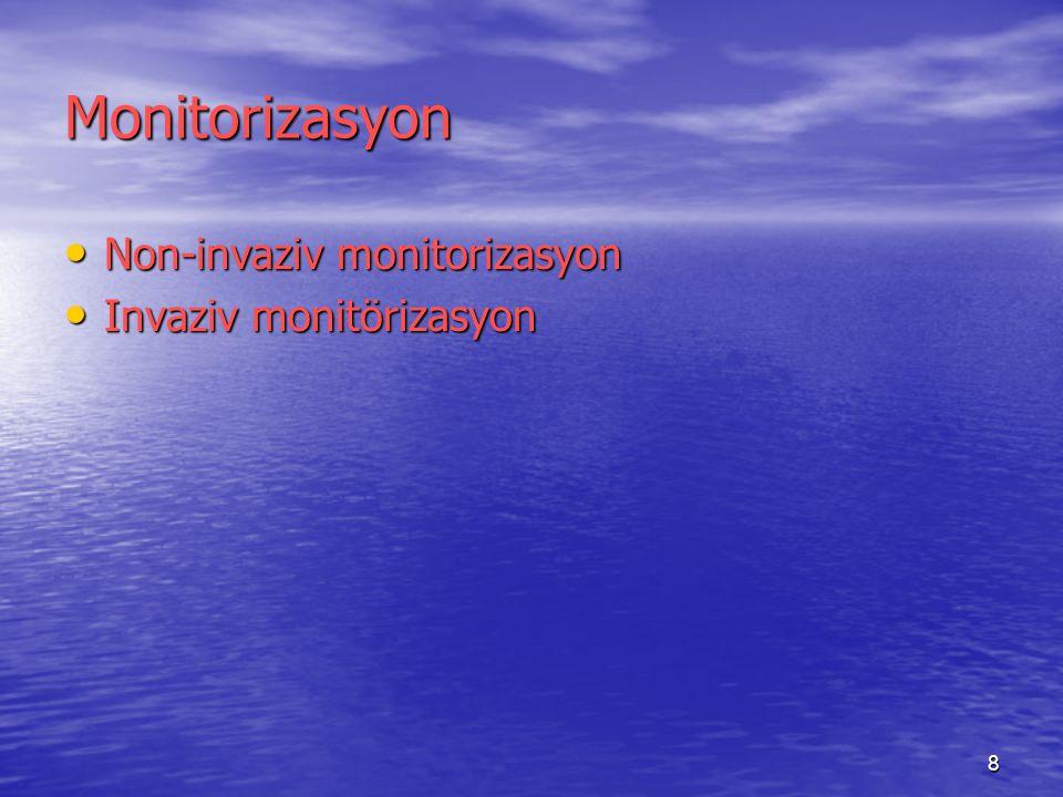 9 Sistemlerin Monitorizasyonu Kardiyak fonksiyon Kardiyak fonksiyon Solunum sistemi Solunum sistemi Sinir sistemi Sinir sistemi Termoregülasyon Termoregülasyon İntravasküler volüm İntravasküler volüm Renal fonksiyon Renal fonksiyon monitorizasyonlarını içerir.