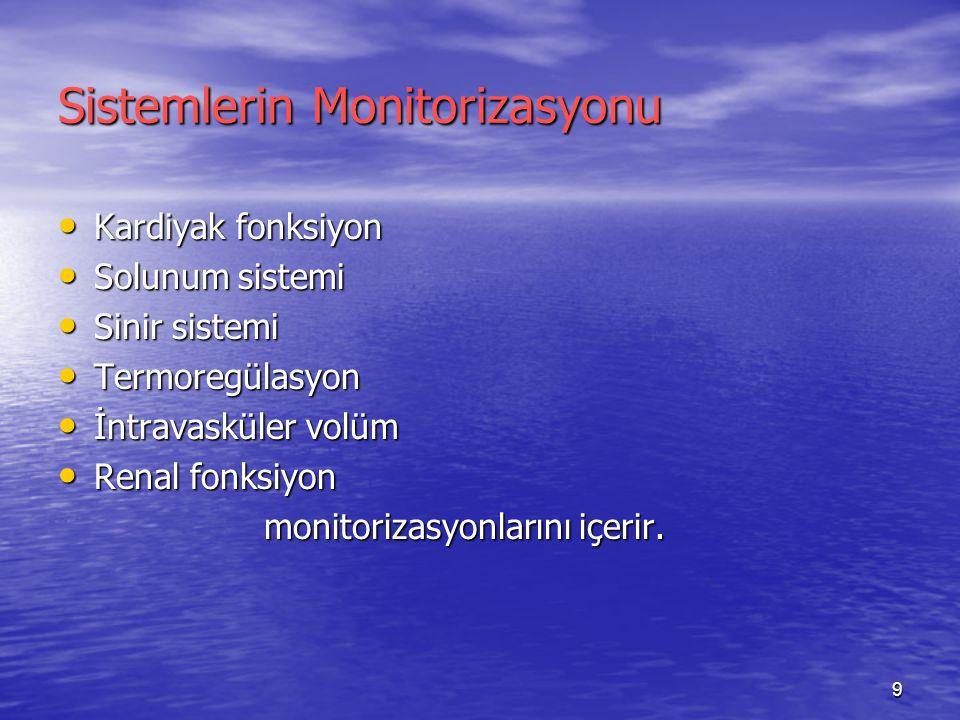 9 Sistemlerin Monitorizasyonu Kardiyak fonksiyon Kardiyak fonksiyon Solunum sistemi Solunum sistemi Sinir sistemi Sinir sistemi Termoregülasyon Termor