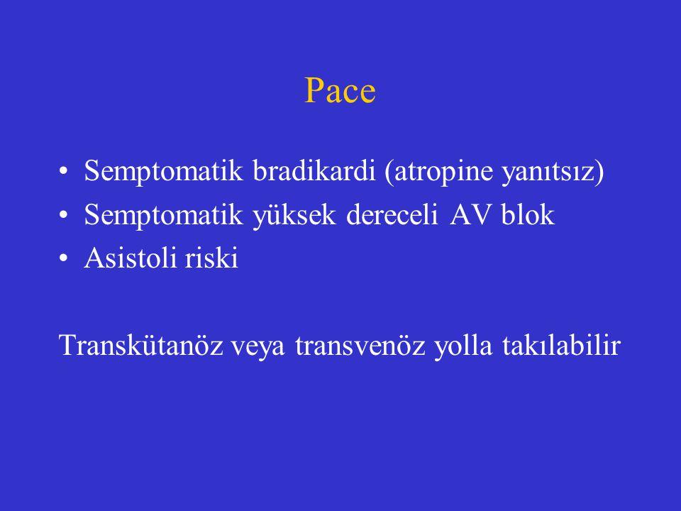 Pace Semptomatik bradikardi (atropine yanıtsız) Semptomatik yüksek dereceli AV blok Asistoli riski Transkütanöz veya transvenöz yolla takılabilir