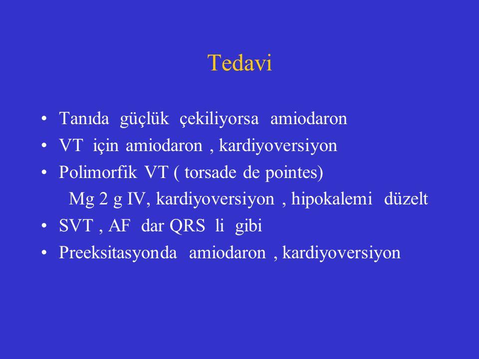 Tedavi Tanıda güçlük çekiliyorsa amiodaron VT için amiodaron, kardiyoversiyon Polimorfik VT ( torsade de pointes) Mg 2 g IV, kardiyoversiyon, hipokale