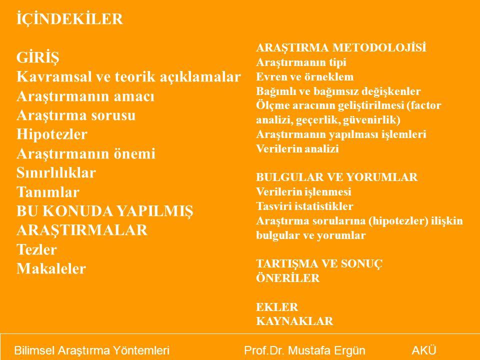 Bilimsel Araştırma Yöntemleri Prof.Dr. Mustafa Ergün AKÜ İÇİNDEKİLER GİRİŞ Kavramsal ve teorik açıklamalar Araştırmanın amacı Araştırma sorusu Hipotez