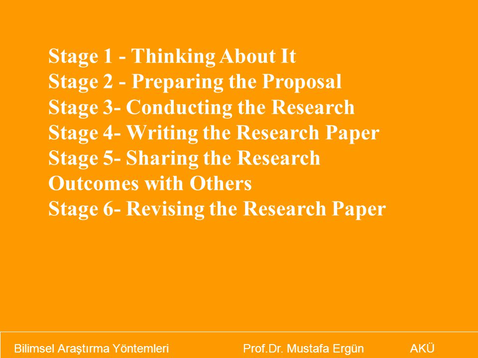 Stage 1 - Thinking About It Stage 2 - Preparing the Proposal Stage 3- Conducting the Research Stage 4- Writing the Research Paper Stage 5- Sharing the
