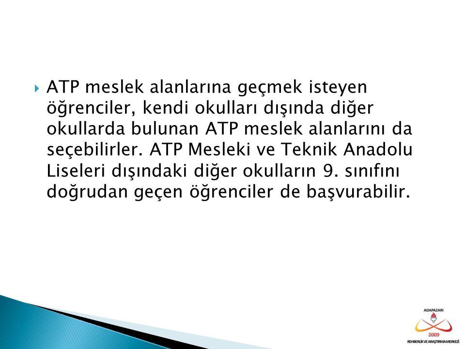  ATP meslek alanlarına geçmek isteyen öğrenciler, kendi okulları dışında diğer okullarda bulunan ATP meslek alanlarını da seçebilirler. ATP Mesleki v