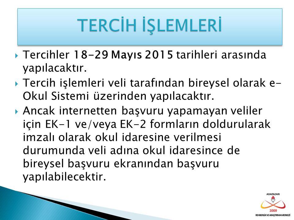  Tercihler 18-29 Mayıs 2015 tarihleri arasında yapılacaktır.  Tercih işlemleri veli tarafından bireysel olarak e- Okul Sistemi üzerinden yapılacaktı