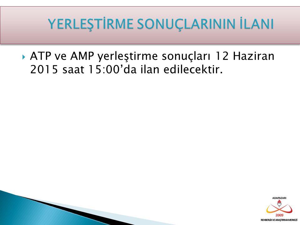  ATP ve AMP yerleştirme sonuçları 12 Haziran 2015 saat 15:00'da ilan edilecektir.