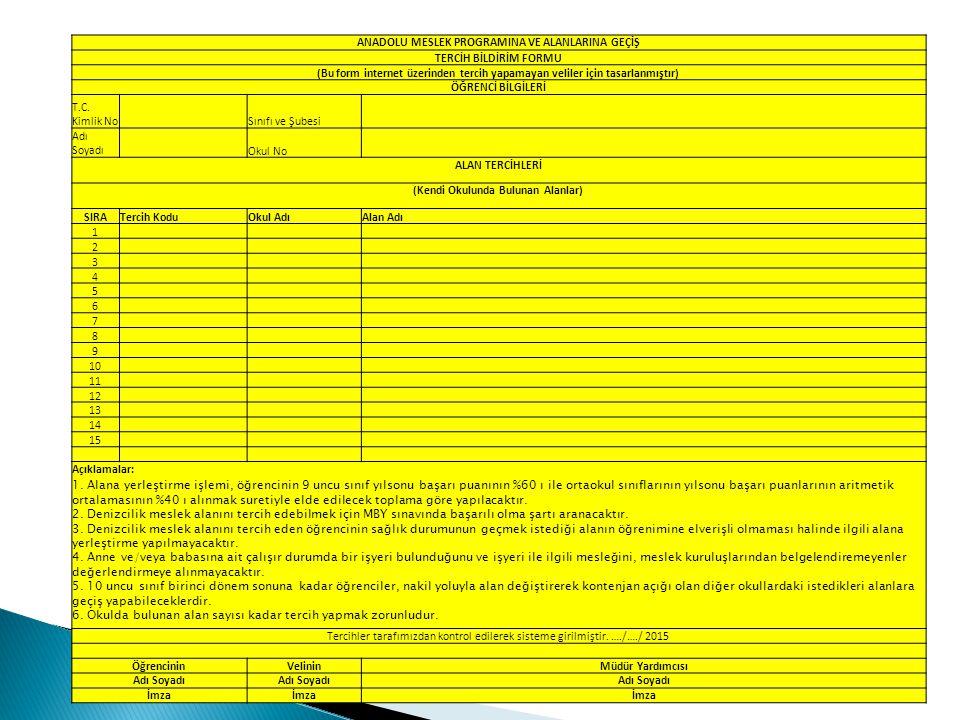 SIRAYAPILACAK İŞLEMLERTARİH 1 ATP/AMP alanları hakkında 9 uncu sınıf öğrencilerine rehberlik ve bilgilendirme yapılması Ders yılı süresince 2 Okul yönetimlerince, ATP/AMP meslek alanlarına alınacak öğrenci kontenjanlarının e-Okul Sistemine girilmesi 30 Mart-10 Nisan 2015 3 ATP/AMP alanlarına alınacak öğrenci kontenjanlarının e-Okul Sisteminde ilan edilmesi 13 Nisan 2015 4 ATP/AMP ve meslek alanlarına geçiş, tercih ve yerleştirme iş ve işlemleri hakkında 9 uncu sınıf öğrenci velilerine bilgilendirme toplantısı 13-19 Nisan 2015 5 ATP ve AMP meslek alanlarına ait tercihlerin velilerce ya da EK-1 ve EK-2 yıl doldurarak tercih başvurusu yapanların okul müdürlüğünce e-Okul Sistemine işlenmesi 18-29 Mayıs 2015 6 Tercih başvurularının okul müdürlüğünce e-Okul Sisteminde Onaylanması 18-29 Mayıs 2015 79 uncu sınıf öğrenci puanlarının e-Okul Sistemine girişinin yapılması için son gün 10 Haziran 2015 8 ATP/AMP meslek alanlarına yerleştirme sonuçlarının e-Okul Sisteminde ilanı 12 Haziran 2015 15:00