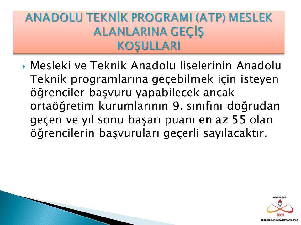  Mesleki ve Teknik Anadolu liselerinin Anadolu Teknik programlarına geçebilmek için isteyen öğrenciler başvuru yapabilecek ancak ortaöğretim kurumlar