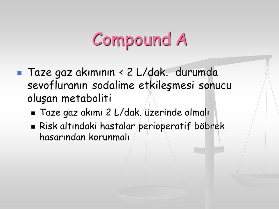 Compound A Taze gaz akımının < 2 L/dak. durumda sevofluranın sodalime etkileşmesi sonucu oluşan metaboliti Taze gaz akımının < 2 L/dak. durumda sevofl