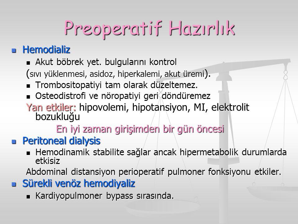 Preoperatif Hazırlık Hemodializ Hemodializ Akut böbrek yet. bulgularını kontrol Akut böbrek yet. bulgularını kontrol ( sıvı yüklenmesi, asidoz, hiperk