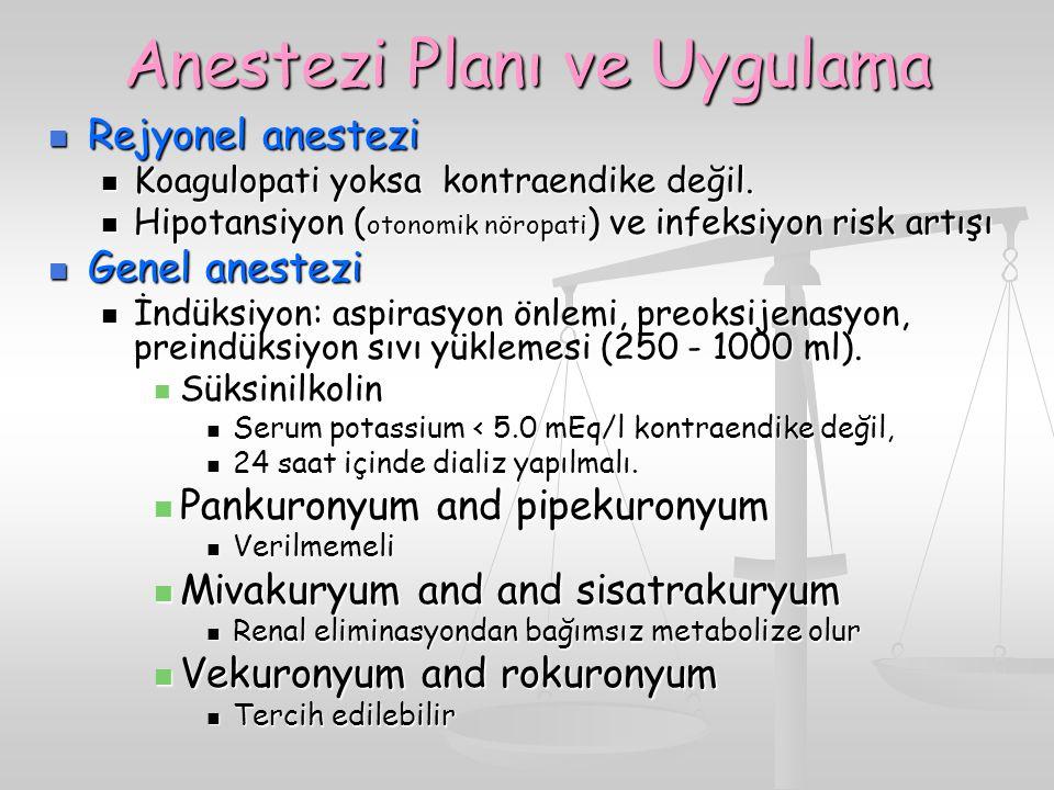Anestezi Planı ve Uygulama Rejyonel anestezi Rejyonel anestezi Koagulopati yoksa kontraendike değil. Koagulopati yoksa kontraendike değil. Hipotansiyo
