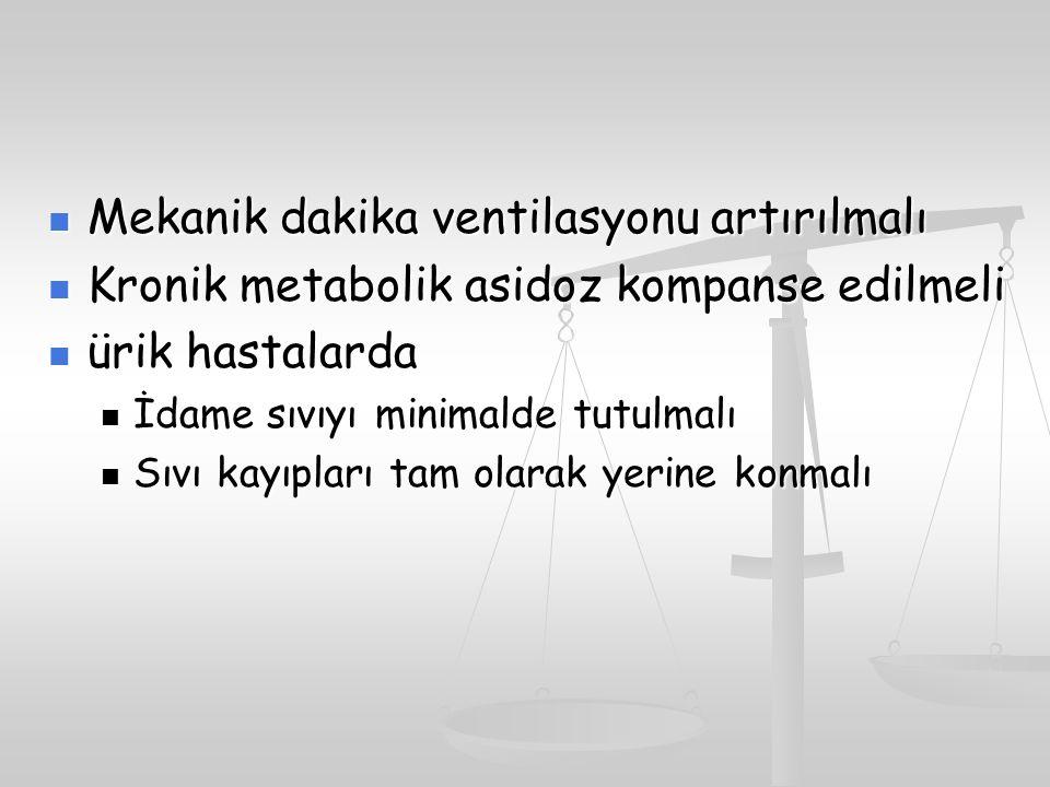 Mekanik dakika ventilasyonu artırılmalı Mekanik dakika ventilasyonu artırılmalı Kronik metabolik asidoz kompanse edilmeli Kronik metabolik asidoz komp