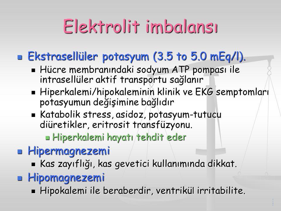 Elektrolit imbalansı Ekstrasellüler potasyum (3.5 to 5.0 mEq/l). Ekstrasellüler potasyum (3.5 to 5.0 mEq/l). Hücre membranındaki sodyum ATP pompası il