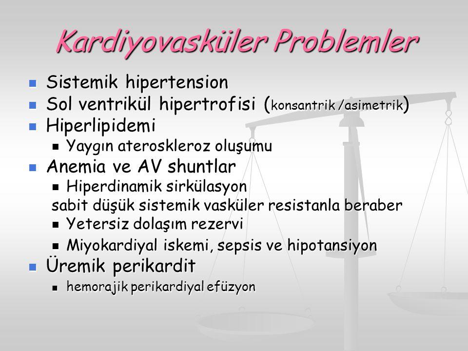 Kardiyovasküler Problemler Sistemik hipertension Sistemik hipertension Sol ventrikül hipertrofisi ( konsantrik /asimetrik ) Sol ventrikül hipertrofisi