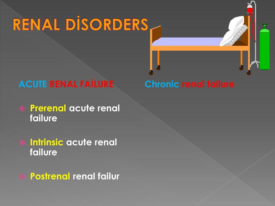 ACUTE RENAL FAİLURE  Prerenal acute renal failure  Intrinsic acute renal failure  Postrenal renal failur Chronic renal failure