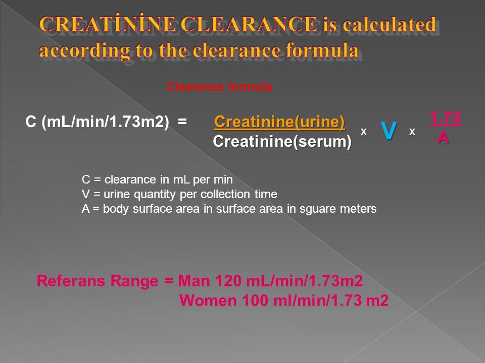 Clearance formula Creatinine(urine) C (mL/min/1.73m2) = Creatinine(urine) Creatinine(serum) x 1.73 A C = clearance in mL per min V = urine quantity pe