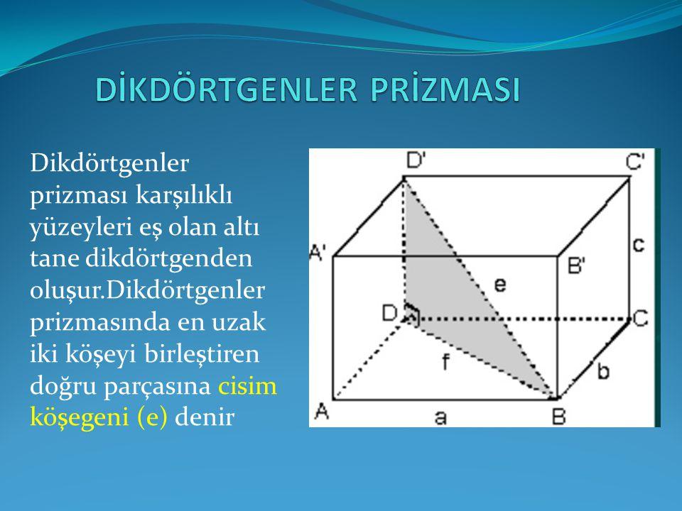 Dikdörtgenler prizması karşılıklı yüzeyleri eş olan altı tane dikdörtgenden oluşur.Dikdörtgenler prizmasında en uzak iki köşeyi birleştiren doğru parç