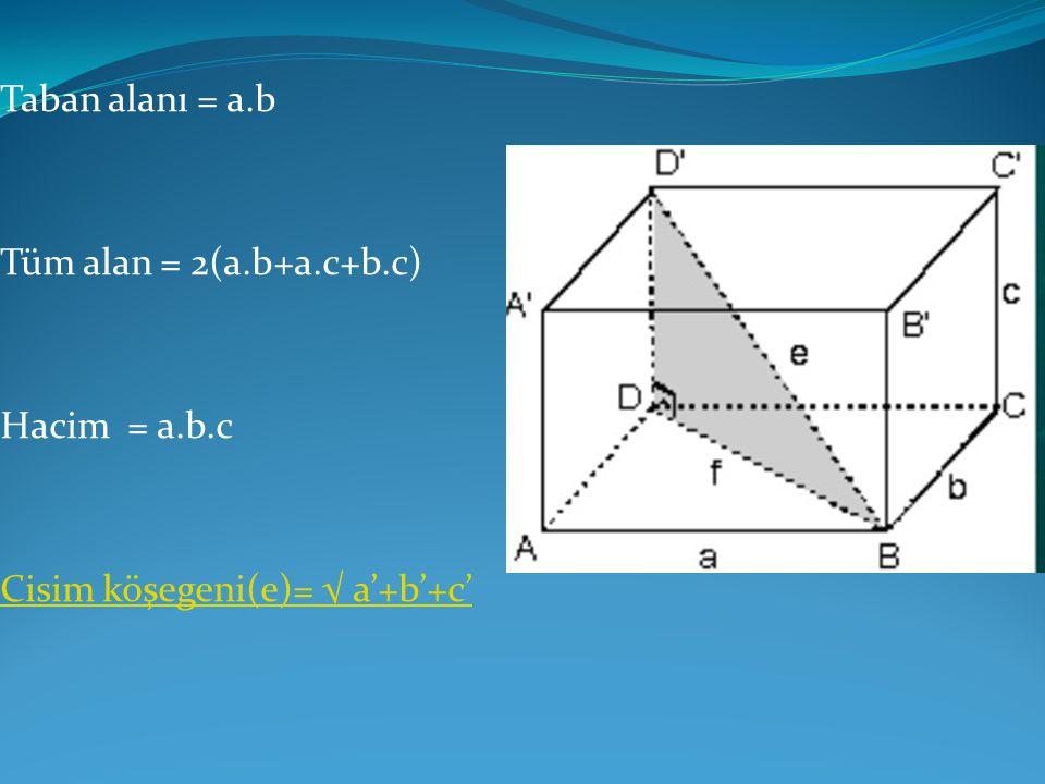 Taban alanı = a.b Tüm alan = 2(a.b+a.c+b.c) Hacim = a.b.c Cisim köşegeni(e)= √ a'+b'+c'