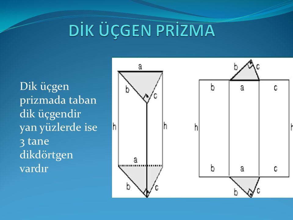 Dik üçgen prizmada taban dik üçgendir yan yüzlerde ise 3 tane dikdörtgen vardır