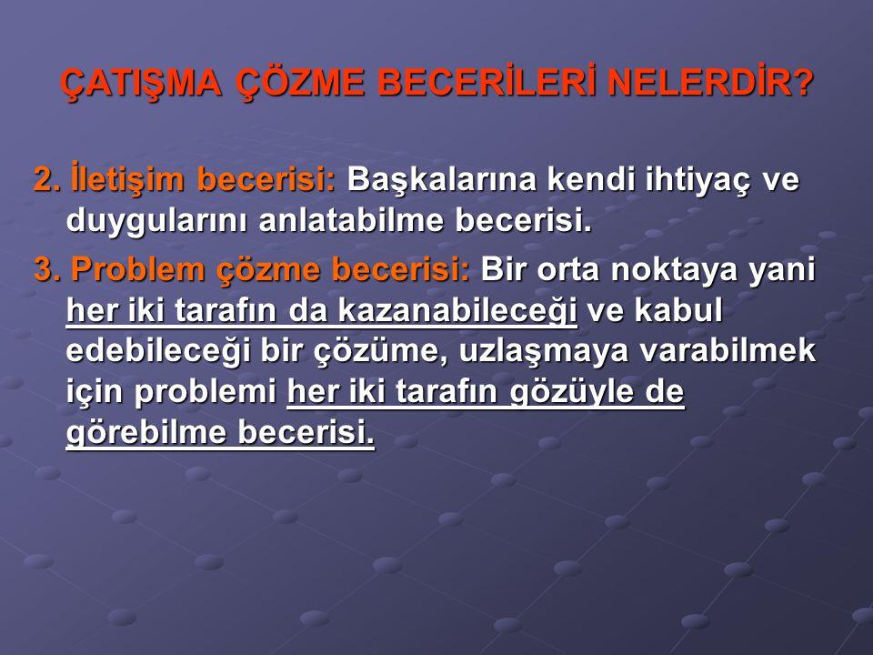 ÇATIŞMA ÇÖZME BECERİLERİ NELERDİR.1.