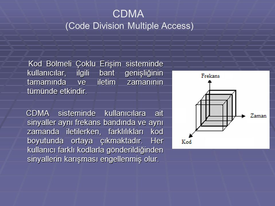 CDMA (Code Division Multiple Access) Kod Bölmeli Çoklu Erişim sisteminde kullanıcılar, ilgili bant genişliğinin tamamında ve iletim zamanının tümünde