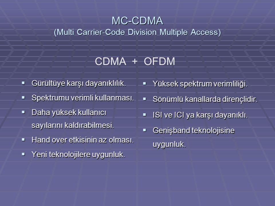 MC-CDMA (Multi Carrier-Code Division Multiple Access)  Gürültüye karşı dayanıklılık.  Spektrumu verimli kullanması.  Daha yüksek kullanıcı sayıları