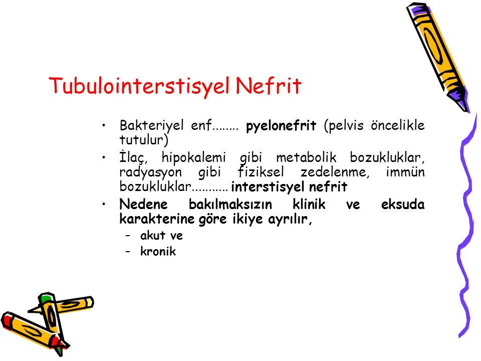 Tubulointerstisyel Nefrit Bakteriyel enf........ pyelonefrit (pelvis öncelikle tutulur) İlaç, hipokalemi gibi metabolik bozukluklar, radyasyon gibi fi