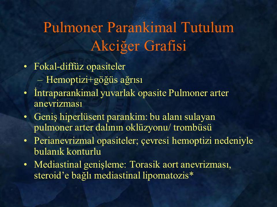 Fokal-diffüz opasiteler –Hemoptizi+göğüs ağrısı İntraparankimal yuvarlak opasite Pulmoner arter anevrizması Geniş hiperlüsent parankim: bu alanı sulayan pulmoner arter dalının oklüzyonu/ trombüsü Perianevrizmal opasiteler; çevresi hemoptizi nedeniyle bulanık konturlu Mediastinal genişleme: Torasik aort anevrizması, steroid'e bağlı mediastinal lipomatozis* Pulmoner Parankimal Tutulum Akciğer Grafisi