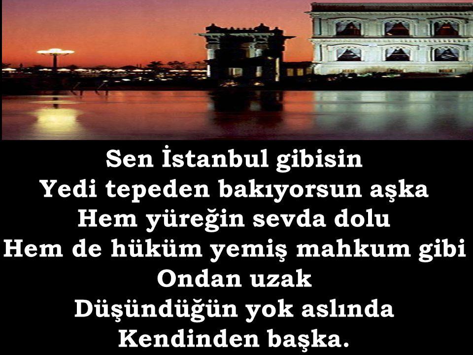 Sen İstanbul gibisin Yedi tepeden bakıyorsun aşka Hem yüreğin sevda dolu Hem de hüküm yemiş mahkum gibi Ondan uzak Düşündüğün yok aslında Kendinden başka.