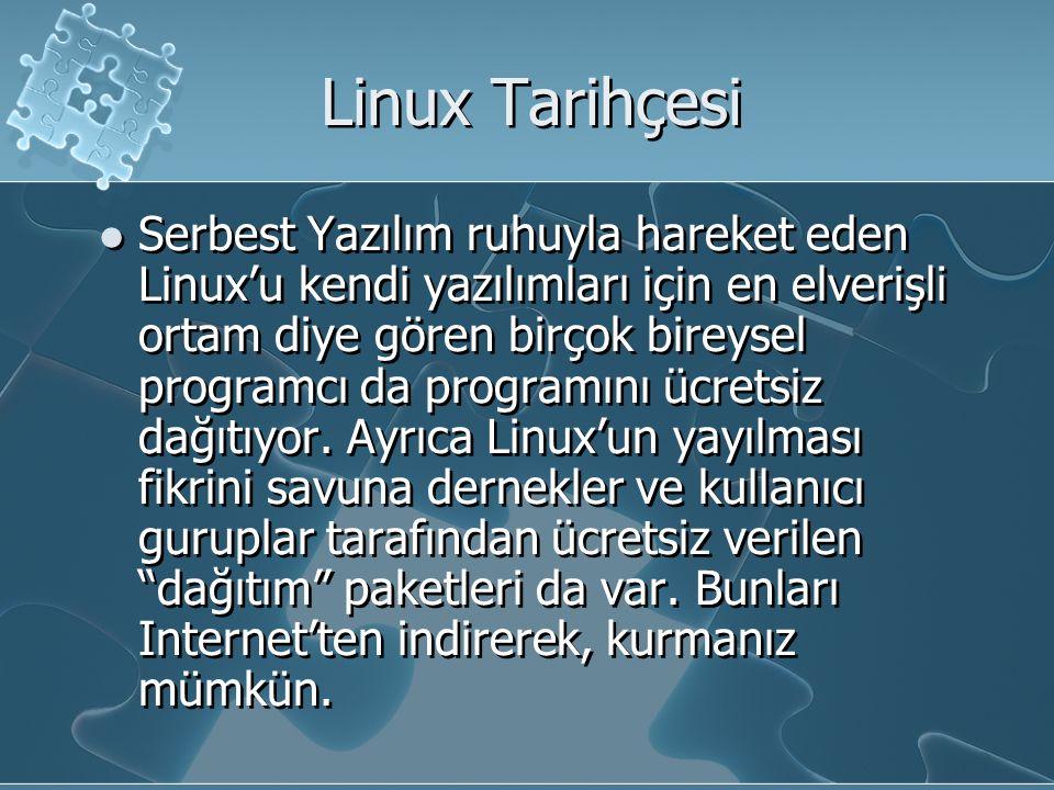 Linux Tarihçesi Serbest Yazılım ruhuyla hareket eden Linux'u kendi yazılımları için en elverişli ortam diye gören birçok bireysel programcı da programını ücretsiz dağıtıyor.