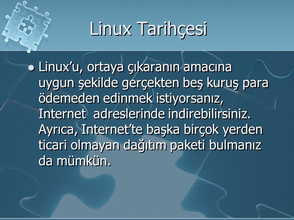 Linux Tarihçesi Linux'u, ortaya çıkaranın amacına uygun şekilde gerçekten beş kuruş para ödemeden edinmek istiyorsanız, Internet adreslerinde indirebilirsiniz.