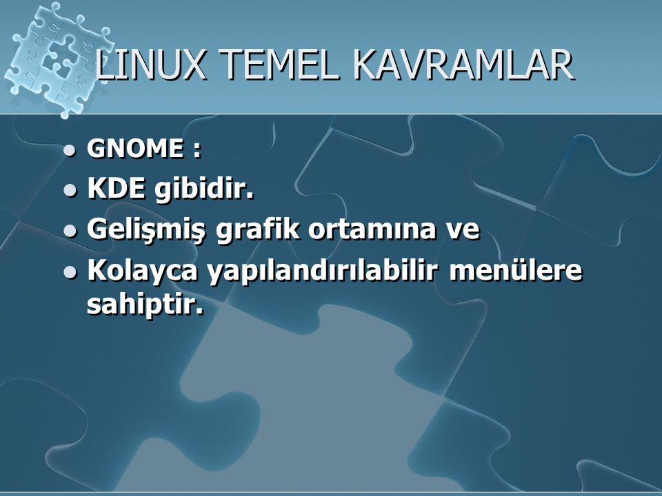 LINUX TEMEL KAVRAMLAR GNOME : KDE gibidir.