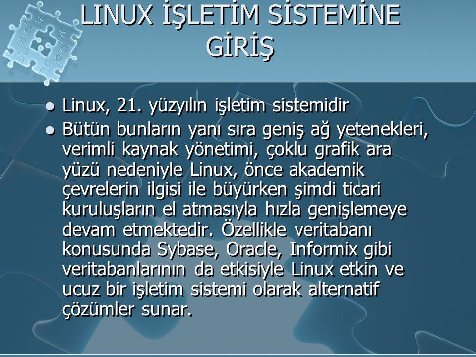LINUX İŞLETİM SİSTEMİNE GİRİŞ Linux, 21.