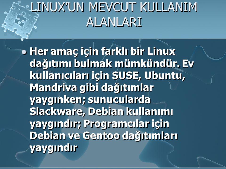 LINUX'UN MEVCUT KULLANIM ALANLARI Her amaç için farklı bir Linux dağıtımı bulmak mümkündür.