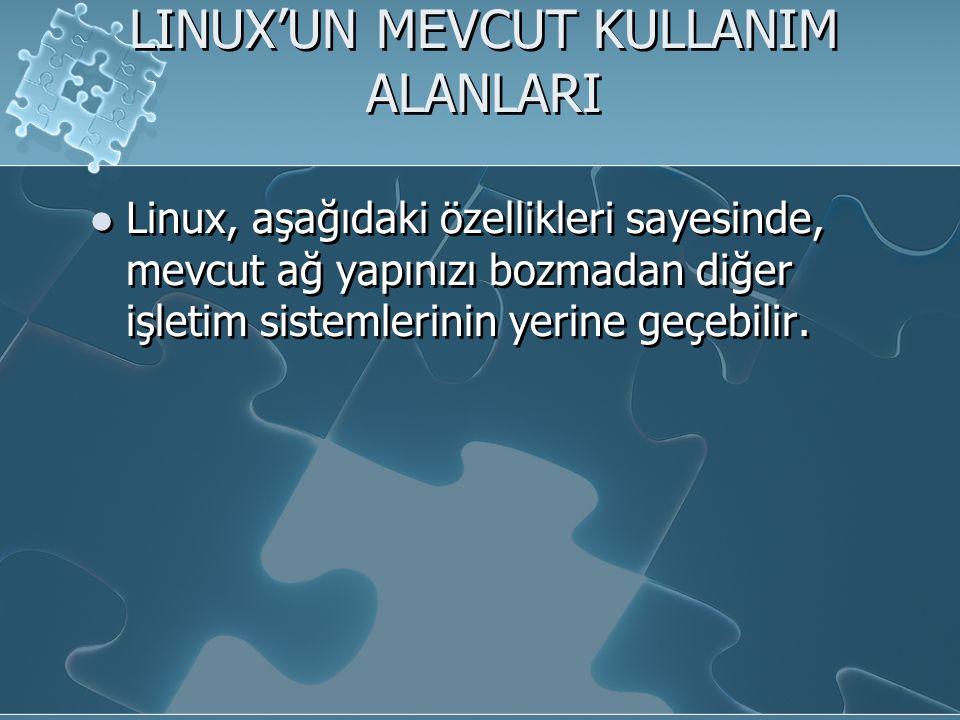 LINUX'UN MEVCUT KULLANIM ALANLARI Linux, aşağıdaki özellikleri sayesinde, mevcut ağ yapınızı bozmadan diğer işletim sistemlerinin yerine geçebilir.