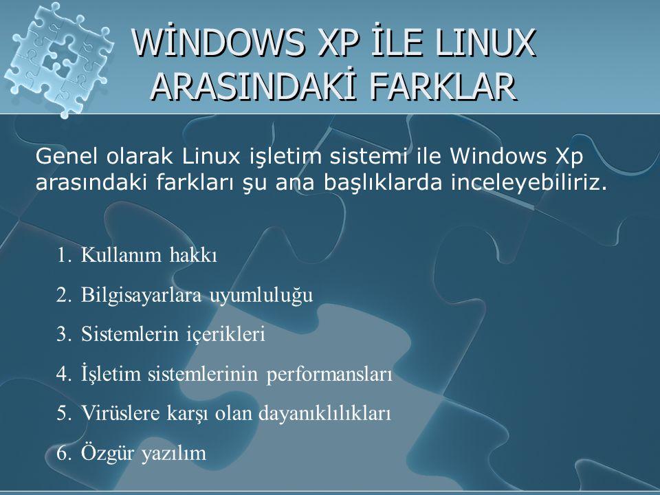 WİNDOWS XP İLE LINUX ARASINDAKİ FARKLAR Genel olarak Linux işletim sistemi ile Windows Xp arasındaki farkları şu ana başlıklarda inceleyebiliriz.