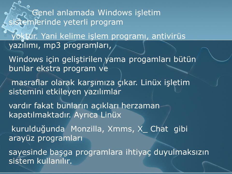 Genel anlamada Windows işletim sistemlerinde yeterli program yoktur.