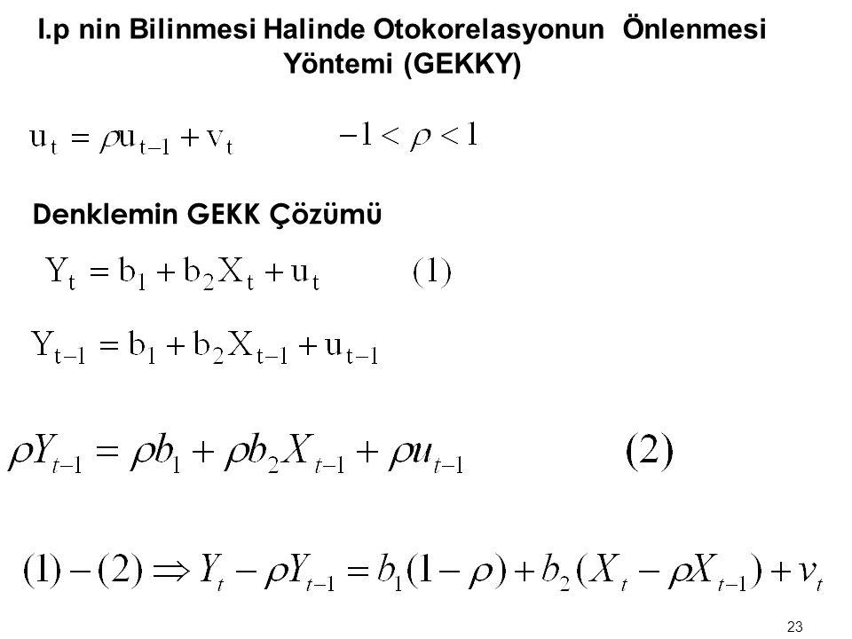 I.   nin bilinmesi halinde otokorelasyonun önlenmesi yöntemi (GEKKY) II.  nin bilinmemesi halinde otokorelasyonun önlenmesi yöntemi (GEKKY) 22 Oto