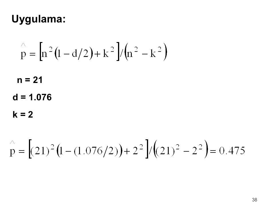 37 3.Theil – Nagar Yöntemi n = Toplam Gözlem Sayısı (Örnek Hacmi) d = DW İstatistiği Değeri k = Tahmin Edilen Katsayı Sayısı
