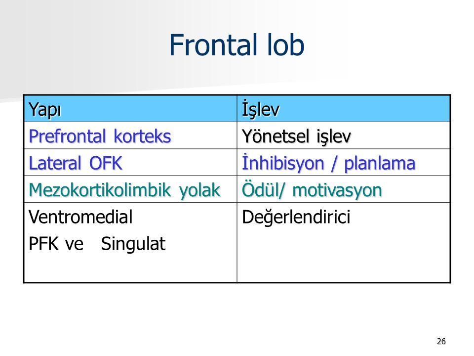 Frontal lob 26 Yapıİşlev Prefrontal korteks Yönetsel işlev Lateral OFK İnhibisyon / planlama Mezokortikolimbik yolak Ödül/ motivasyon Ventromedial PFK ve Singulat Değerlendirici