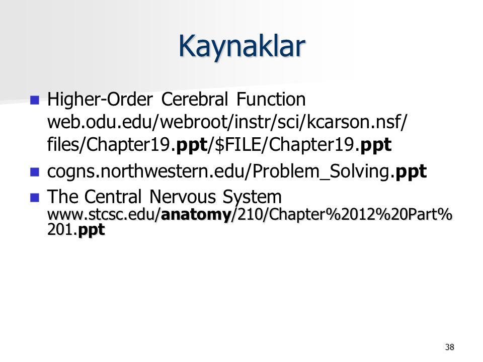 38 Kaynaklar Higher-Order Cerebral Function web.odu.edu/webroot/instr/sci/kcarson.nsf/ files/Chapter19.ppt/$FILE/Chapter19.ppt cogns.northwestern.edu/Problem_Solving.ppt www.stcsc.edu/anatomy/210/Chapter%2012%20Part% 201.ppt The Central Nervous System www.stcsc.edu/anatomy/210/Chapter%2012%20Part% 201.ppt