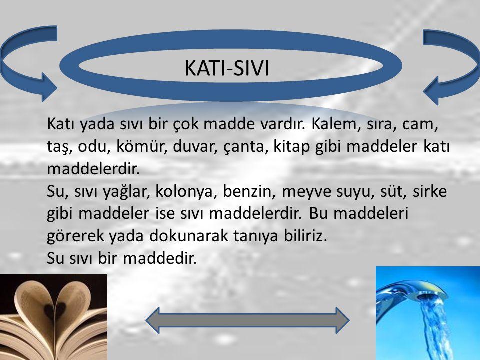 KATI-SIVI Katı yada sıvı bir çok madde vardır. Kalem, sıra, cam, taş, odu, kömür, duvar, çanta, kitap gibi maddeler katı maddelerdir. Su, sıvı yağlar,