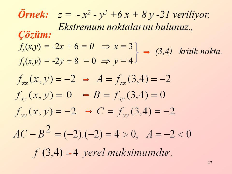 27 f x (x,y) = -2x + 6 = 0  x = 3 f y (x,y) = -2y + 8 = 0  y = 4 (3,4) kritik nokta.