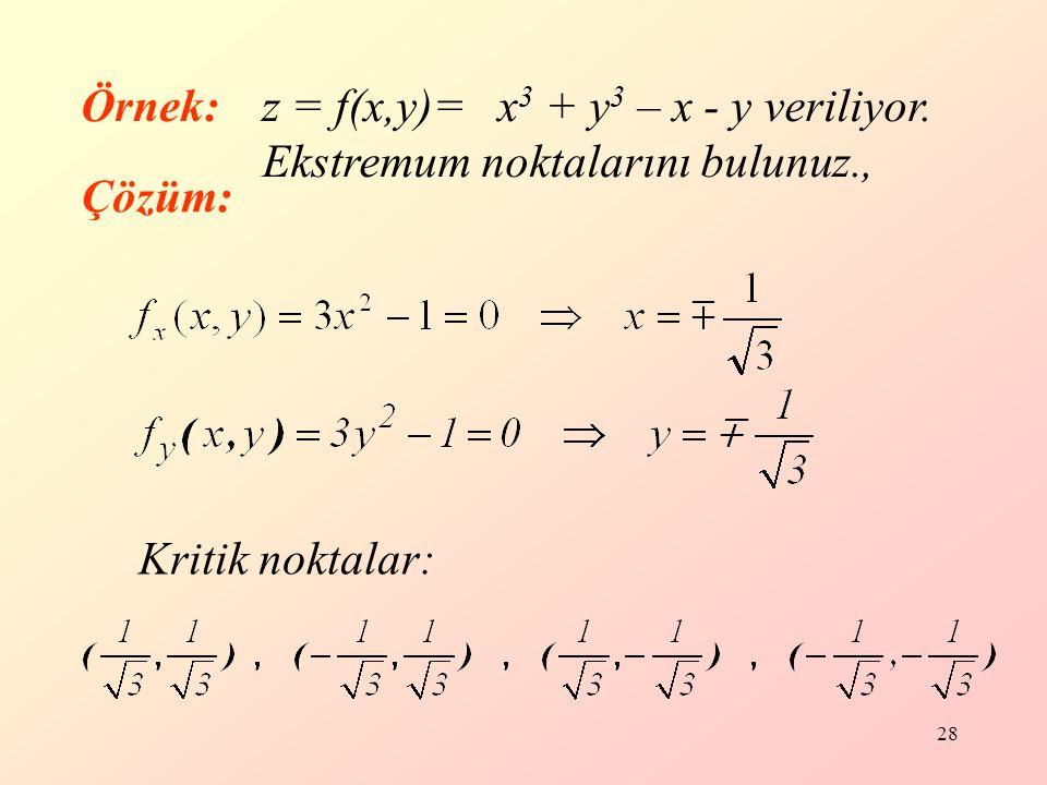 28 Kritik noktalar: Örnek:z = f(x,y)= x 3 + y 3 – x - y veriliyor.