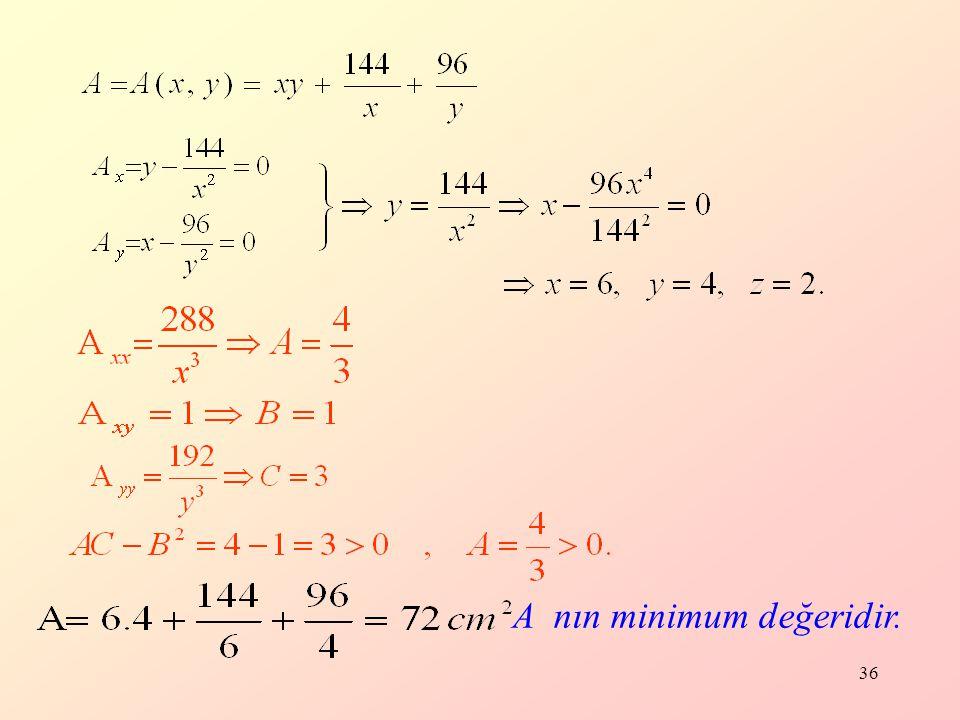 36 A nın minimum değeridir.